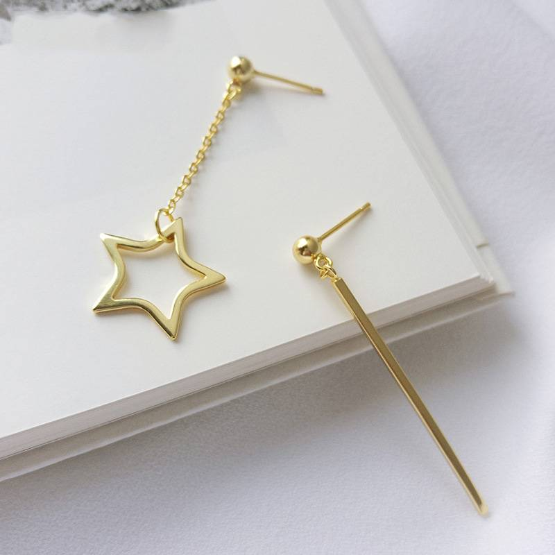 Korea Hot Style Pure 925 Sterling Silver Earring for Women Delicate Fashion Gold Star Asymmetry Tassel Earring Jewelry