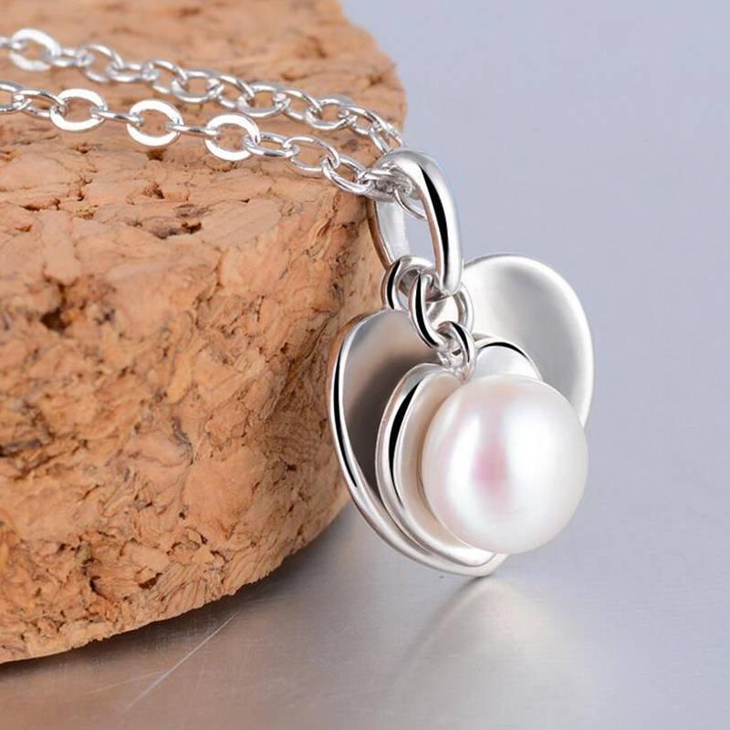 Heart Pendant Necklace Natural Pearl Fashion Jewelry True Love 925 Sterling Silver Jewelry For Women Necklace High Quality