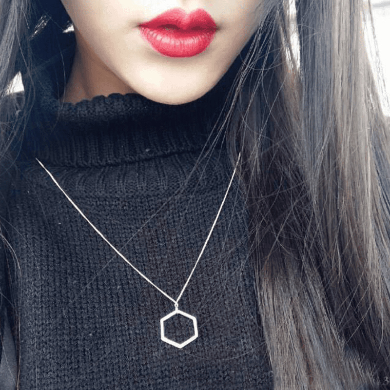 Korea 100% 925 Sterling Silver Fashion Minimalism Geometric Pendant Necklace Fine Jewelry for Female