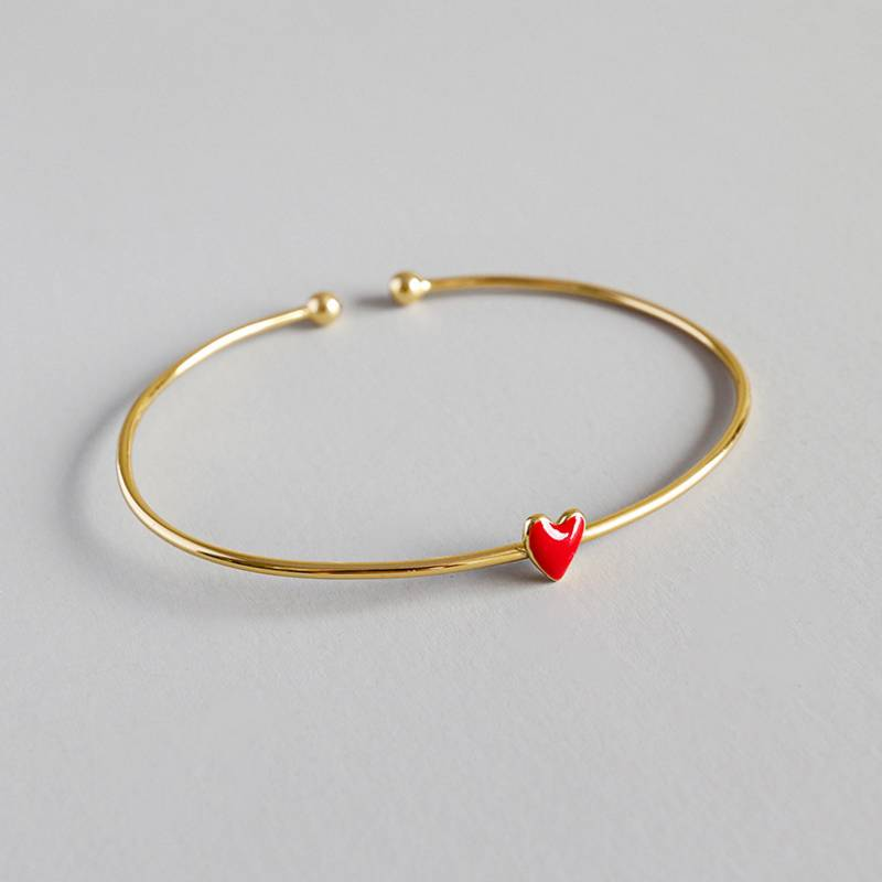 Pure 925 Sterling Silver Bangle Wholesale Japan Korea Style Fashion Cute Sweet Heart Open Gold Bangle Bracelets Women Jewelry