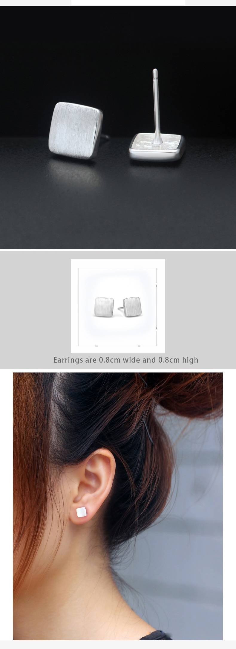 100% 925 Sterling Silver Fashion Personality Minimalism Square Stud Earring Jewelry for Women