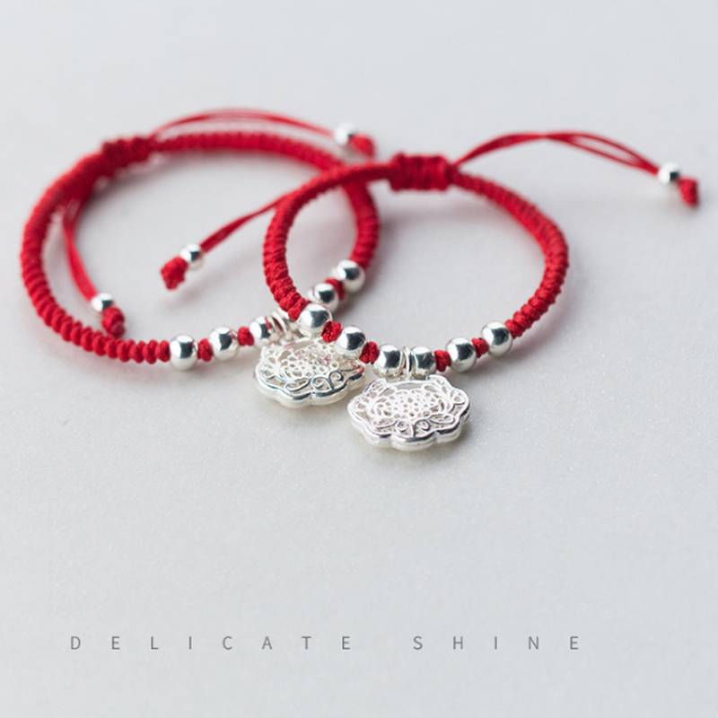 Hot Sale 100% 925 Sterling Silver Korea Style Simple Trendy Baby Longevity Lock Red Rope Bracelets Jewelry women