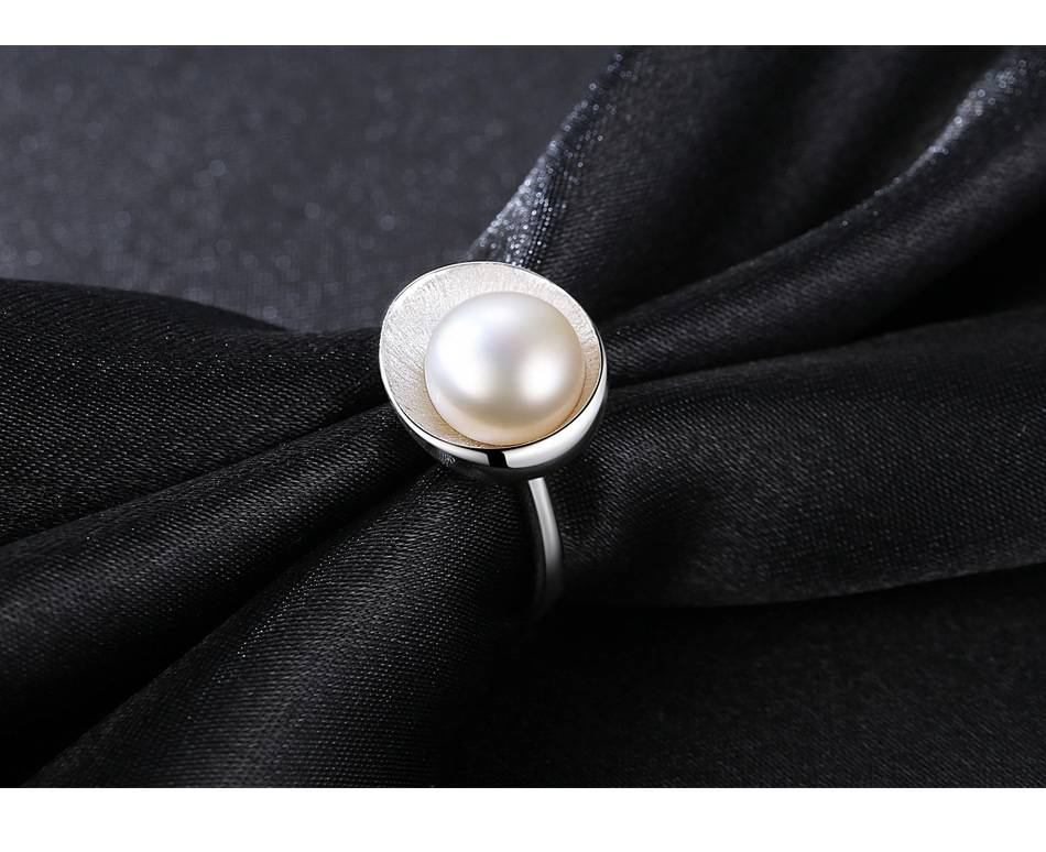 100% 925 Sterling Silver Ring Fashion Pearl Jewelry 9-9.5MM Natural Pearl Open Ring