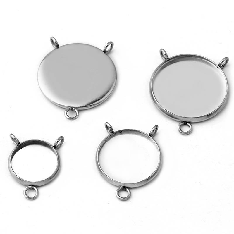 ( No Fade )  8mm-25mm Inner Size Stainless Steel Material Simple Style Cabochon Base Cameo Setting Charms Pendant Tray