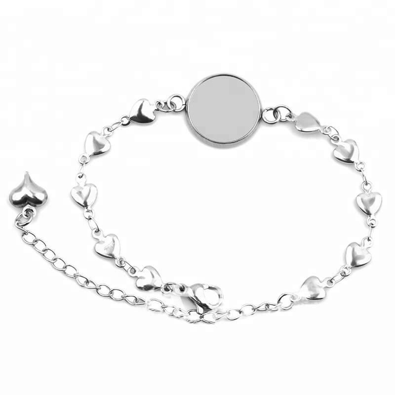 High Quality 12mm 14mm 16mm 18mm 20mm Stainless Steel Love Heart Bangle Base Bracelet Blank Findings Tray Bezel Setting Cameo
