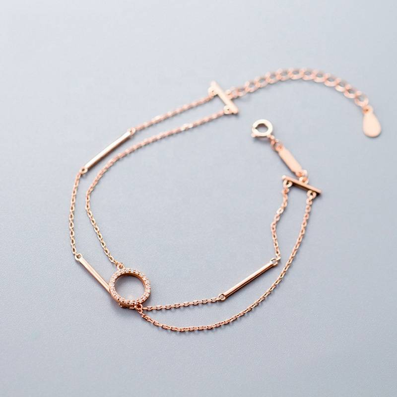 Fashion Double Layer 925 Silver Rose Gold Round Ring Bar Charm Bracelet Bangle for Women