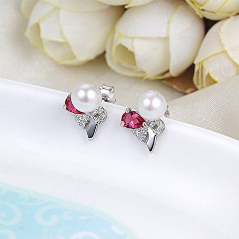 100% Sterling Silver 5-6mm Natural Pearl Exquisite Red Zircon Earrings for Women Wedding Earrings