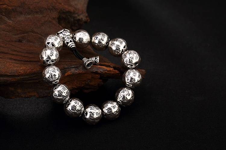 925 Sterling Silver Retro Thai Silver Old Personality Versatile Heart Bead Men's Silver Bracelet