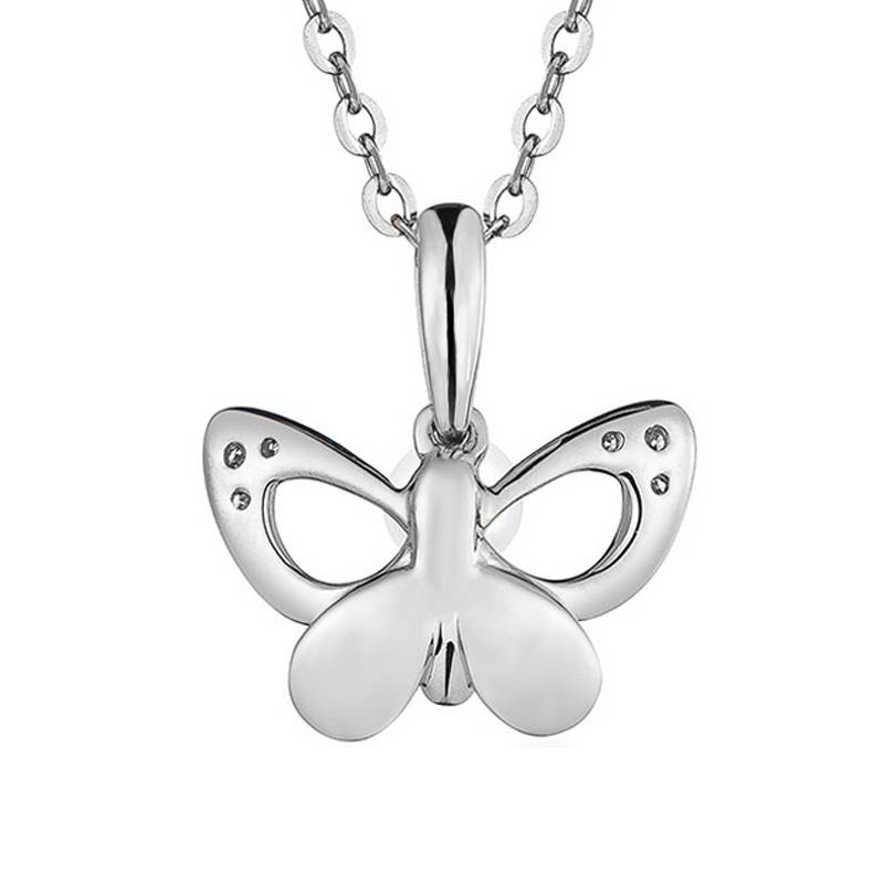 100% 925 Sterling Silver Zircon Pearl Women Butterfly Necklace Pendant