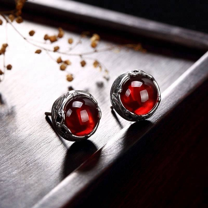 Solid 925 Sterling Silver Earring  Garnet Real Pure Thai SilverVintage  Engagement Wedding Stud Earrings