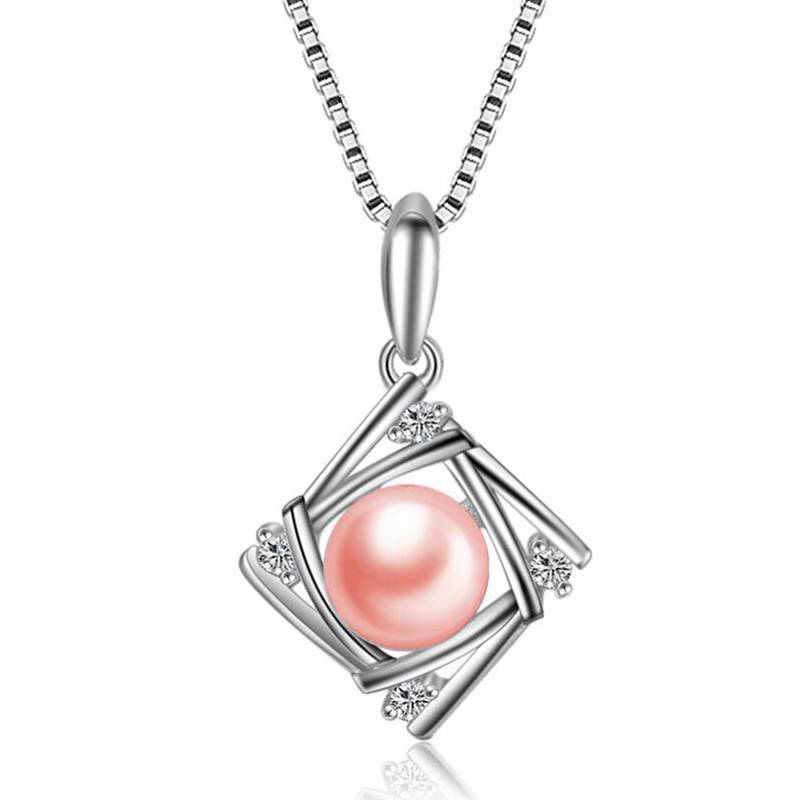 Fashion 100% 925 Sterling Silver berongga Square Zircon Kalung Wanita Natural Pearl Pendant Charms Jewelry
