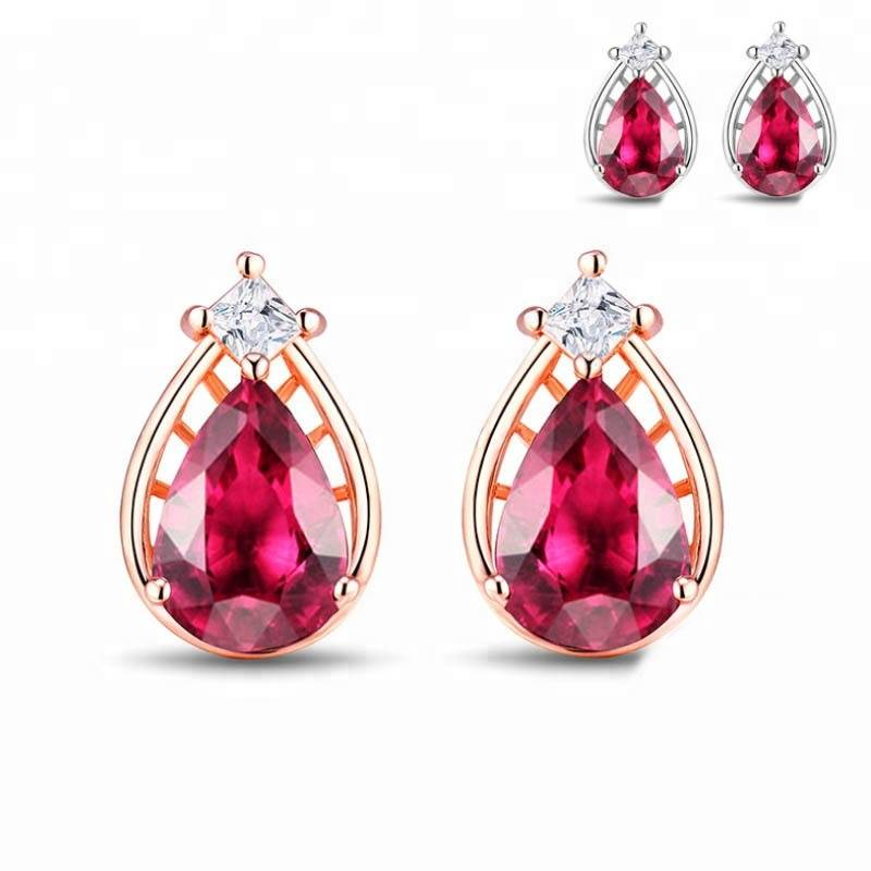 Genuine 925 Sterling Silver Red zircon Earrings Sweet and Lovely Earrings Accessories Anti-allergic Gifts for Lover