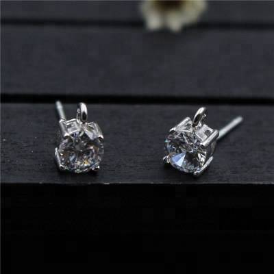 925 Sterling Silver Ear Pin Earring With Zircon Accessories DIY Earrings With Ring Earrings Findings Jewelry Making