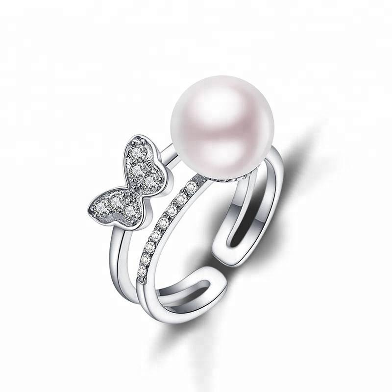 100% 925 Sterling Silver Adjustable Ring 9.5-10mm Natural Pearl Double Row Butterfly Zircon Ring