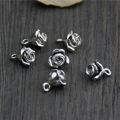 Antique 925 Thai Silver Rose Buds Charms Pendants Fashion Jewelry DIY Fit Bracelets Necklace Earrings