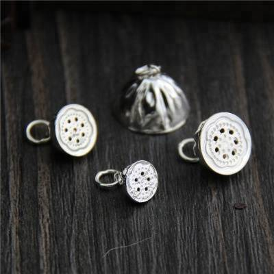 Real 925 Sterling Silver Lotus Charms Accessories Jewelry DIY Handmade Ethnic Findings Jewellery Vintage Bracelet Pendant