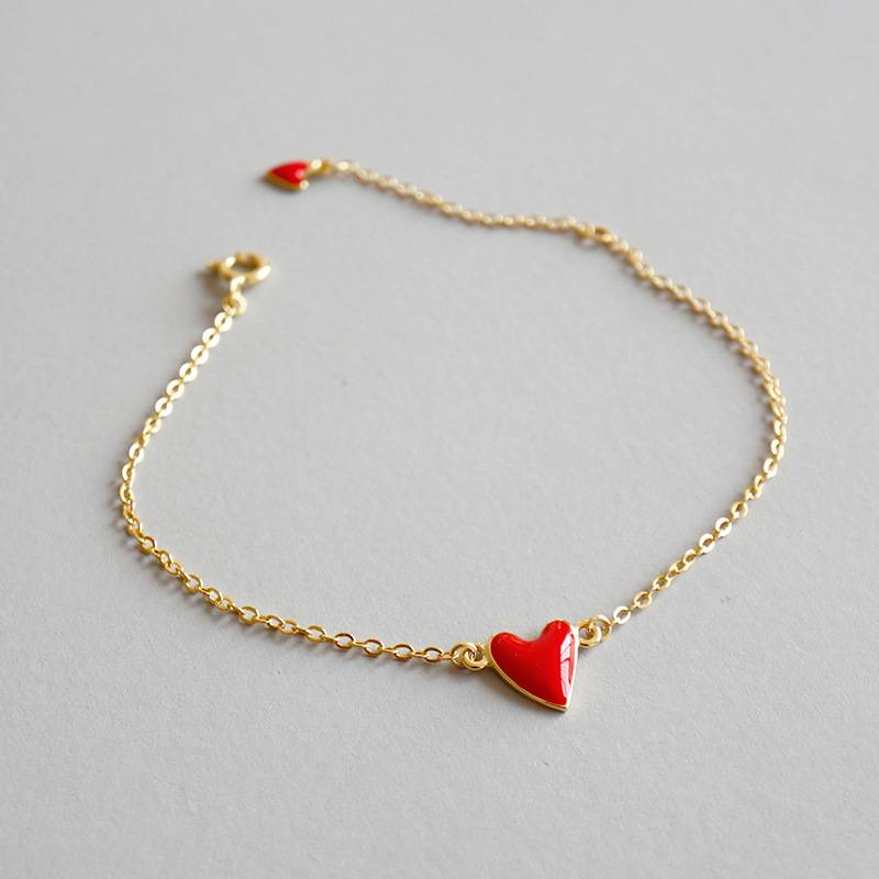Korean 925 Sterling Silver Simple Gold-plated Red Resin Love Heart bracelet Nice jewelry for Female