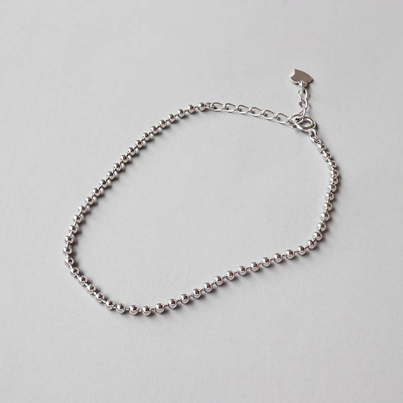 Korea Hot Style Pure 925 Sterling Silver Delicate Fashion 2mm Beads Chain Bracelets Jewelry for Women