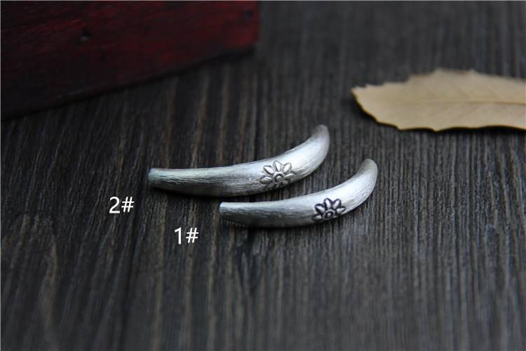 Thailand 925 Sterling Silver DIY Bracelets Tube Hollow Bend Elbow Pipe Beads Carving Flower Totem Accessories