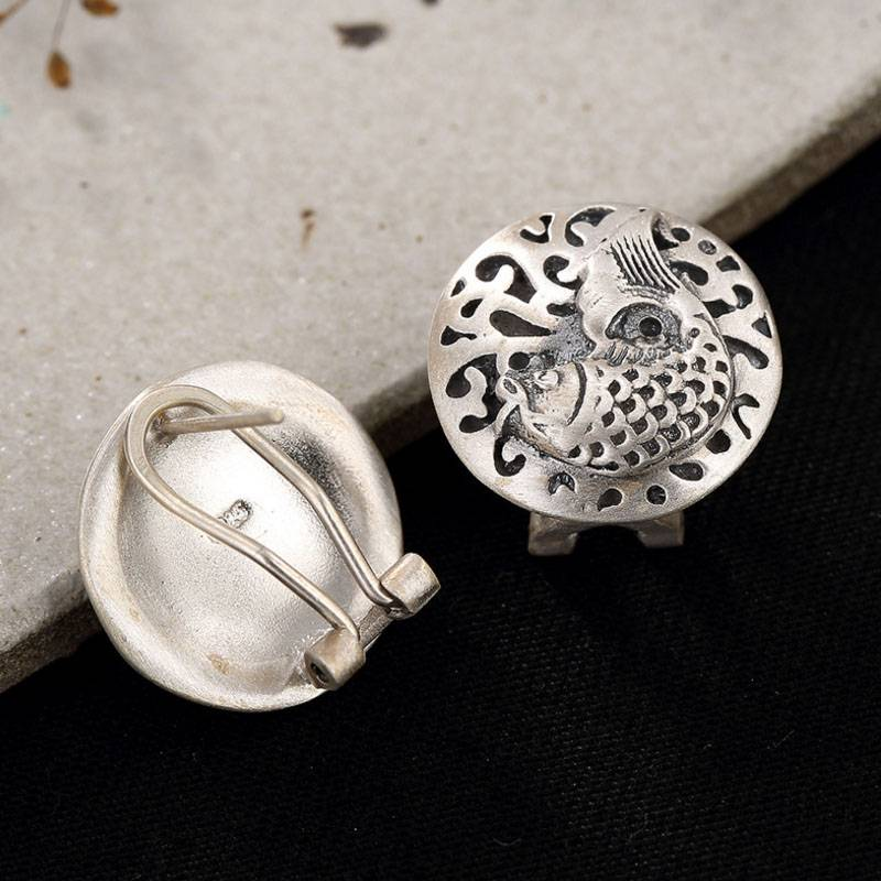 990 Sterling Silver Round Ethnic Carp Stud Earring For Men Women