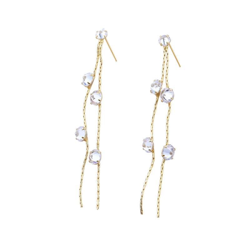 Korea New Style 925 Sterling Silver  for Women Simple Fashion Chic Zircon Gold Wire Drop Earring Jewelry