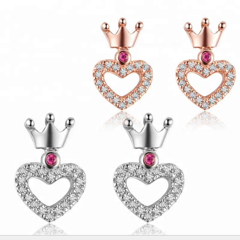 Genuine 925 sterling silver Love heart Earring silver jewelry for women's Fashion sweet Crown antiallergic