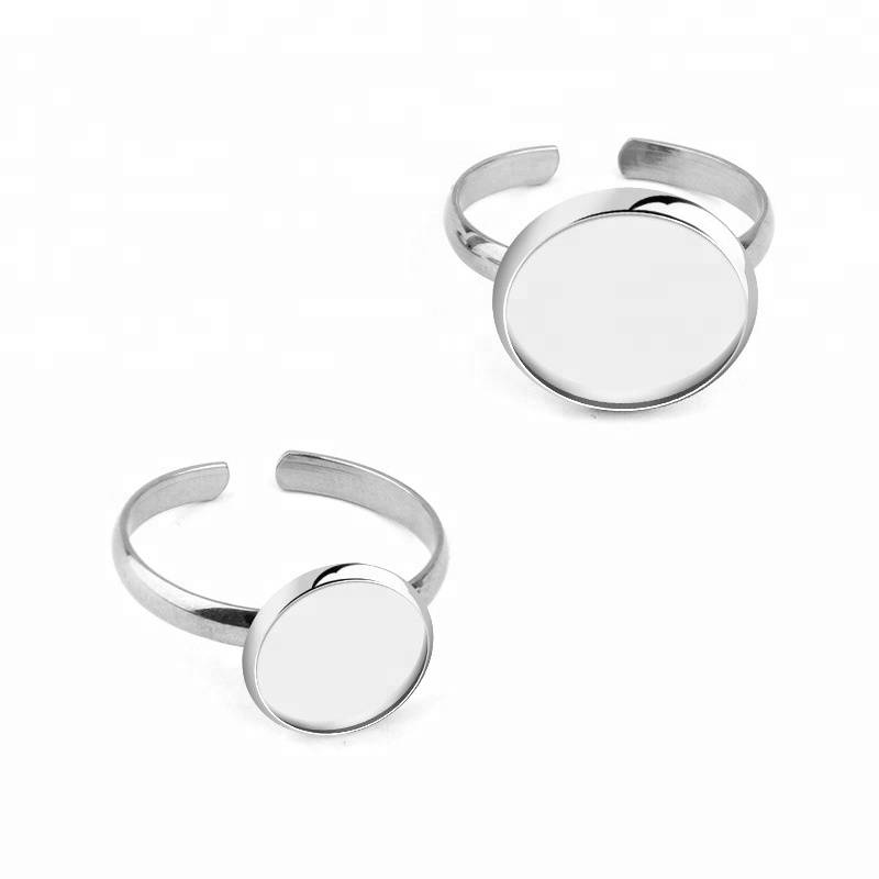 No Fade Stainless Steel Adjustable Ring Settings Blank Base Fit 8mm 10mm 12mm Glass Cabochons Ring Bezels