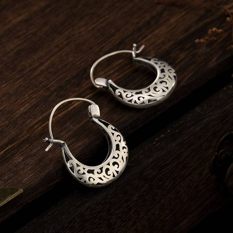 990 Sterling Silver Flower Carving Hollow Drop Earrings for Women Mother's Gift Retro Elegant Jewelry Gift