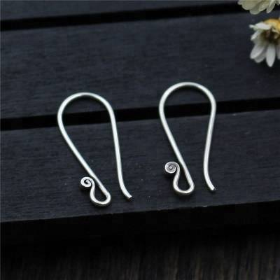 Real 100% 925 Pure Silver top Quality Earrings Findings For DIY Jewelry Ear Hook Earwires Accessory