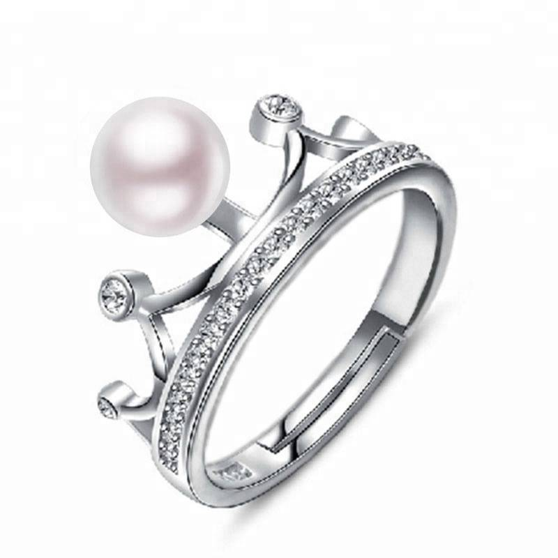 100% 925 Sterling Azurfa dadi 7-7.5MM Halitta Pearl Crown zobe for Women Jewelry