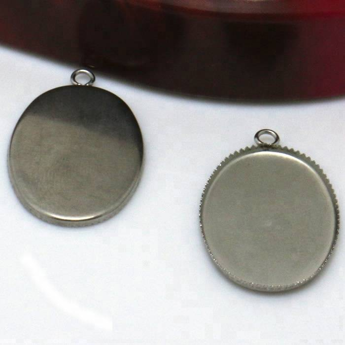 Stainless Steel Pendant Blank Jewelry with Oval-shaped Teeth edge Tray for 18*25/13*18mm Cameo Cabochons WHOLESALE