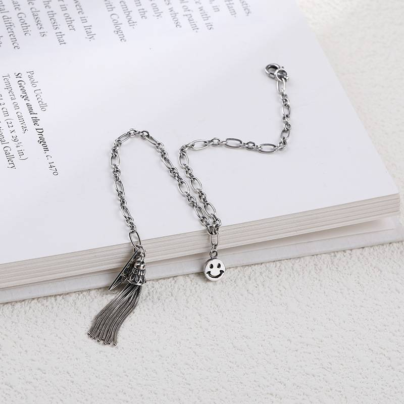 Korea Hot Style 925 Sterling Silver Simple Retro Vintage Smile Tassel Bracelets Women Jewelry