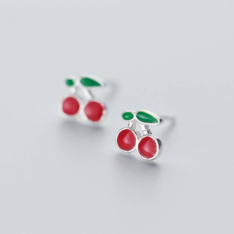 Korea New Style 925 Sterling Silver Simple Fashion Chic Red Cherry Fruit Stud Earring Jewelry for Women