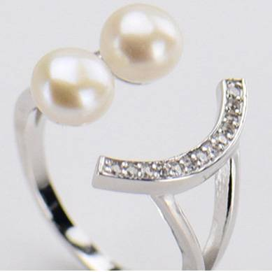 Smiley 100% 925 Sterling-Silver-Jewelry 2 Natural Pearl Ring For women wedding engagement Ring Adjustable