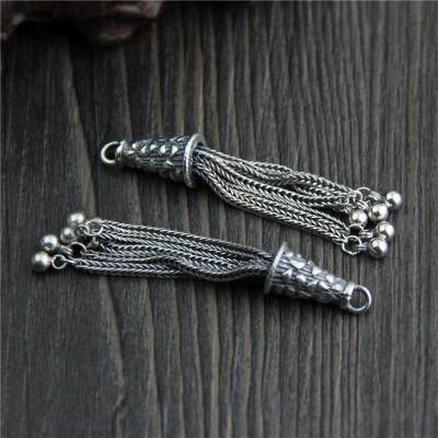925 Sterling Silver Charms Tassel DIY Bracelet Necklace Earrings Tassel Charms Charms Pendant Diy Jewelry