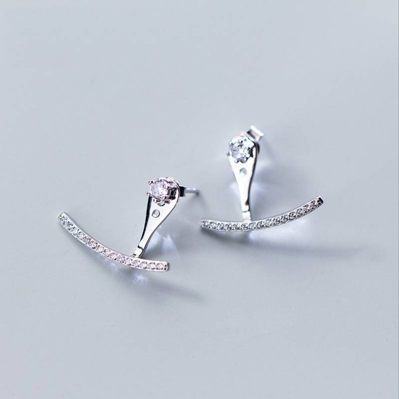 European American New Design 925 Sterling Silver Concise Personality Diamond Back Stud Earring Fine Jewelry