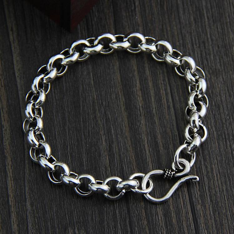 S925 Sterling Silver Simple Hipster Circle Round Buckle Bracelet Men And Women Models Retro Thai Silver Jewelry