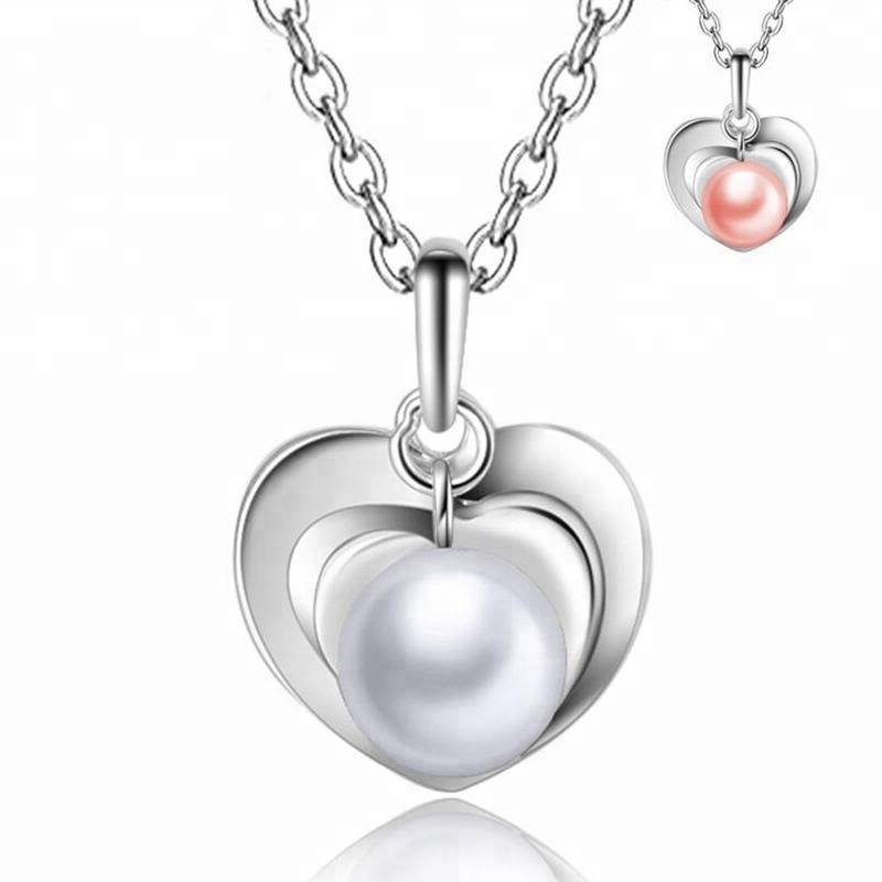 Jewelry Heart la surto oo silsilad Pearl Dabiiciga Fashion Love True 925 Sterling Silver Jewelry Waayo Tayada Sare Women sil