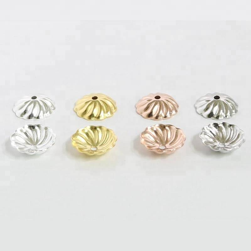 S925 Pure Silver Beads Cap Flower Shape Bead End Caps Findings For Women Jewelry Making End Caps