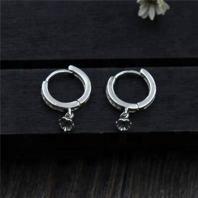 Geometric Design 925 Sterling Silver Women Hoop Earrings Components HandmaDe DIY Jewelry Accessories