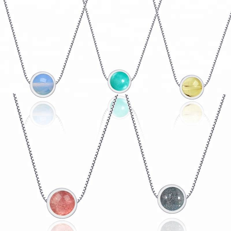 S925 sterling silver strawberry crystal necklace crystal ornaments Korean jewelry