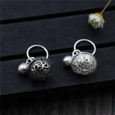 925 Sterling Silver Charms Antique Carved Bells Fit Bracelet Pendant DIY Jewelry