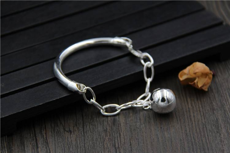S925 Sterling Silver With Beads Pendant Bracelet Female Models Simple Korean Bracelet