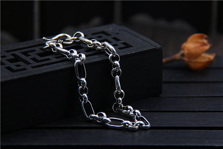 925 Sterling Silver Fashion Wild Bracelet Men And Women Models Punk Personalized Accessories Simple Jewelry