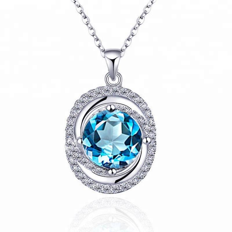 100% 925 Sterling silver Vintage Natural Blue Crystal Clavicle Blue Gem Necklace Pendant Jewelry