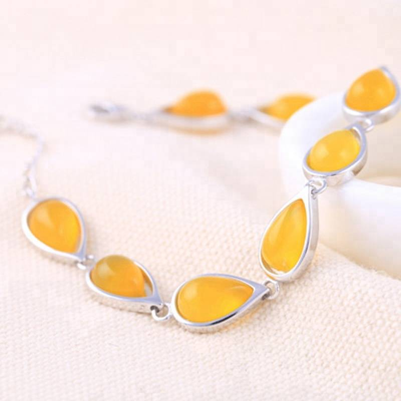 7*11 925 Sterling Silver Inlaid Beeswax Amber Water Drop Bracelet Empty Support Tray