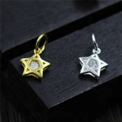 925 Sterling Silver Hollow Star Charms With Zircon Pentagram Charms DIY Bracelet Necklace Charms For Jewelry Making