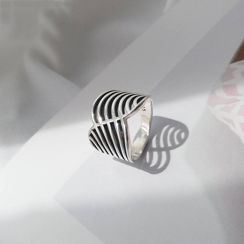 Pure 925 Silver European American New Design Creative Concise Big Ring Fine Jewelry for Women