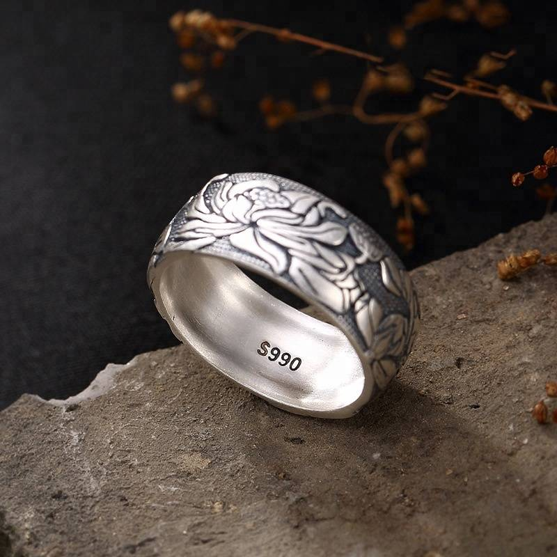 999 Sterling Silver Open Ring Buddhist Lotus Flower Men Thai Silver Fine Jewelry Gift 9mm Wide Finger
