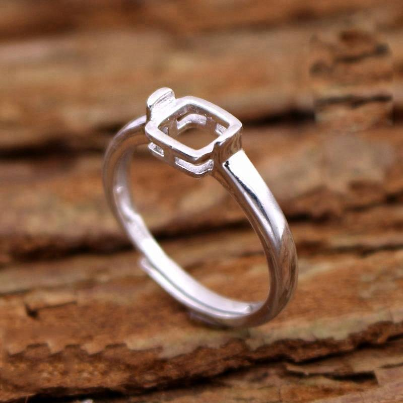 925 Sterling Silver Rings Setting With 6*6mm Cabochon Base for Women Handmade Jewelry Setting Ring Blank Nice Gift